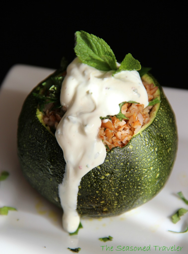 Tabouleh-Stuffed Globe Zucchinis with Sumac-Mint Yogurt Sauce