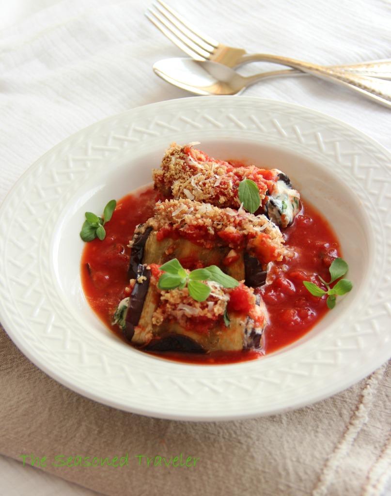 Mediterranean Eggplant, Spinach & Ricotta Rolls