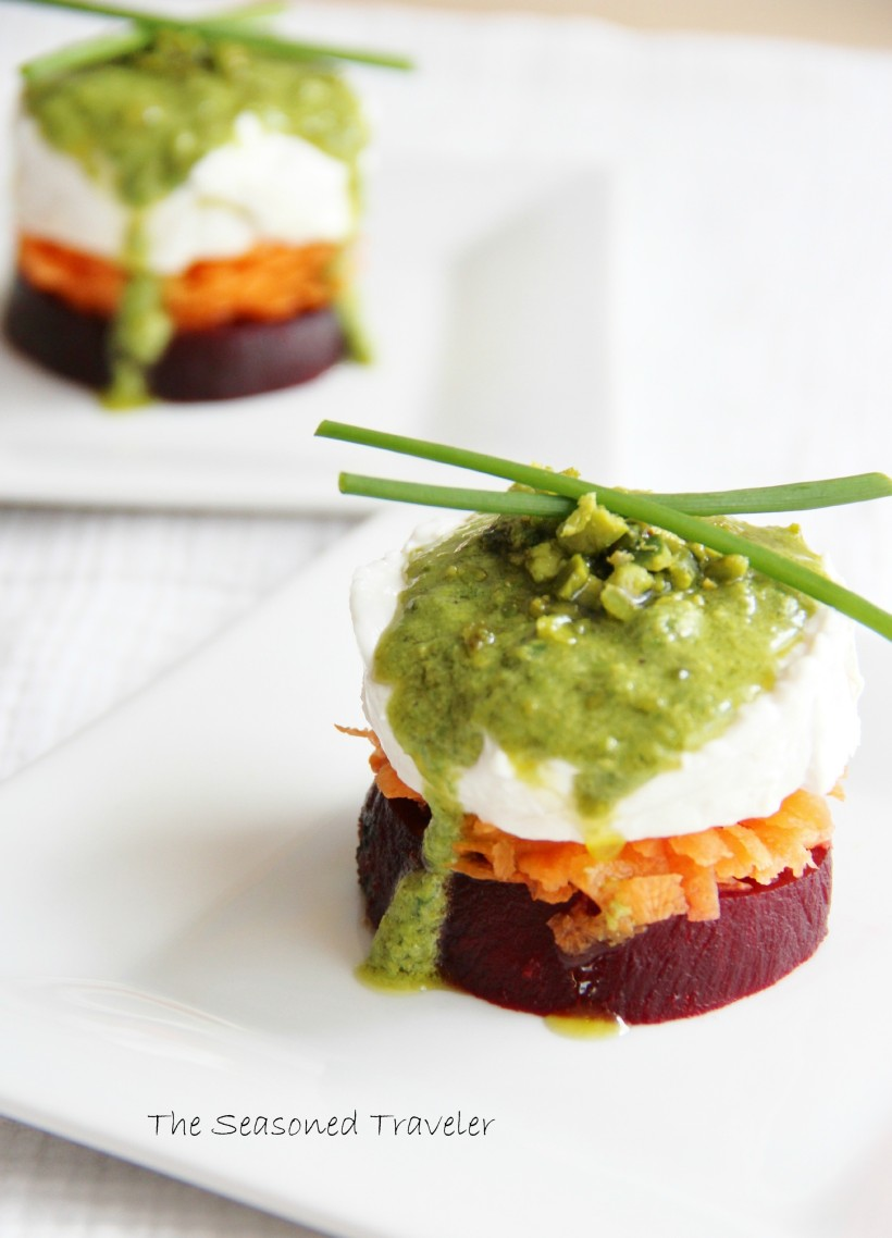Beet, Carrot & Goat Cheese Stack with Chive-Pistachio Pesto
